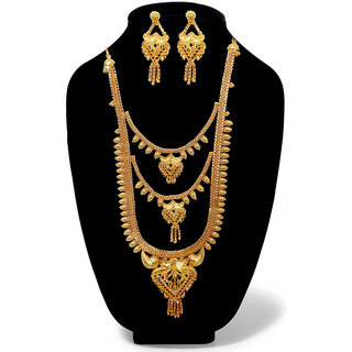 JewelMaze Bronze Gold Plated Austrian Diamond Wedding Necklace Set-1108120 For Women