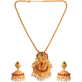 Kord Store Party Wear Gold  Multicolor Stone Traditional Jewellery Necklace Set with Earrings for Women Girls.