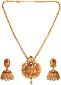 Kord Store Party Wear Gold & Multicolor Stone Traditional Jewellery Necklace Set with Earrings for Women Girls.