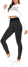 Code Yellow Women's Plaid Skinny Stretchable Black Casual Jeggings Gym Yoga Wear