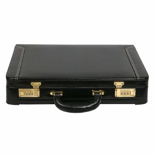 JASHMIN Genuine Leather Expandable Briefcase Black JB91