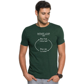 Zorchee Infinite Loop Pure Cotton T-shirts For Friends Forever - Dark Green (Size Small)