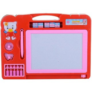 Double Sided Magnetic Slate Whiteboard and Blackboard with Chalk,Duster and Stylus for Boys and Girls. Comes in Multi C