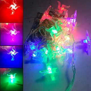Waterproof 20 LED Flashing Color Swastik Shape 4M Copper Rice Chain Decorative Light For Diwali/Wedding/Xmax/New Year 2W