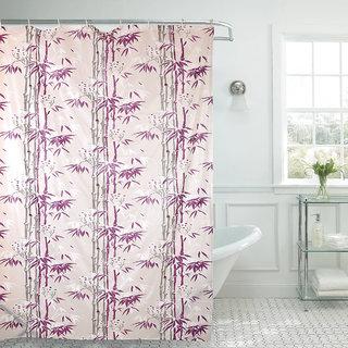 Buy Aradent Premium PVC Shower Curtain With 8 Hooks Qty Set Of 2 Pieces Size 45x7 Feet Color Purple Online