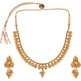 Kord Store Party Wear Golden Traditional Jewellery Necklace Set with Earrings for Women Girls.