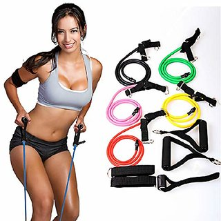 PROSPO Resistance Tube, Toning Tube, Aerobic Toner with Foam Handles, Door Anchor for Resistance Training, Gym Workouts,