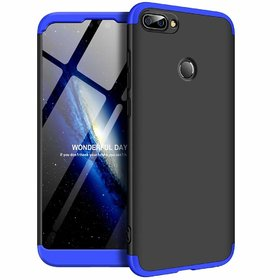 MOBIMON Honor 9N Front Back Case Cover Original Full Body 3-In-1 Slim Fit Complete 360 Degree Protection - Black Blue