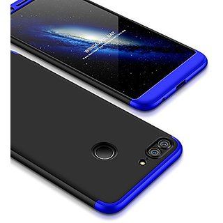MOBIMON Honor 9 Lite Front Back Case Cover Original Full Body 3-In-1 Slim Fit Complete 360 Degree Protection-Black Blue