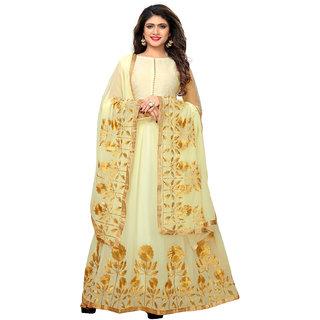 Green Gardan Photo Art White Banglori Silk Anarkali Dress