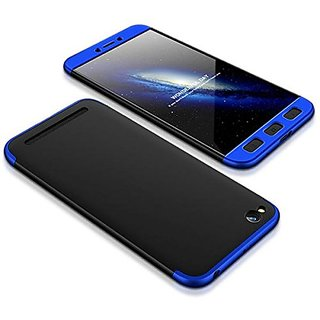 MOBIMON Redmi 5A Front Back Case Cover Original Full Body 3-In-1 Slim Fit Complete 360 Degree Protection - Black Blue
