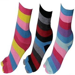 Striped Design Cotton Socks For Women Pack Of 3