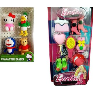 Barbie  Cartoon Character Erasers for kids for gifts on occasions(read description)