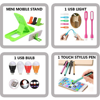 COMBO OF 4 IN 1 MOBILE ACCESSORIES (1 MINI MOBILE STAND+ 1 USB LIGHT+ 1 USB BULB+ 1 TOUCH STYLUS PEN)  FREE GIFT INSIDE