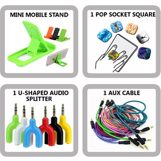 COMBO OF 4 IN 1 MOBILE ACCESSORIES (1 MINI MOBILE STAND+ 1 POP SOCKET SQUARE+ 1 U-SHAPE AUDIO SPLITTER+ 1 AUX CABLE)