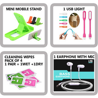COMBO OF 4 IN 1 MOBILE ACCESSORIES (1 MINI MOBILE STAND+ 1 USB LIGHT+ 4 PAIR CLEANING WIPES+ 1 EARPHONE WITH MIC)