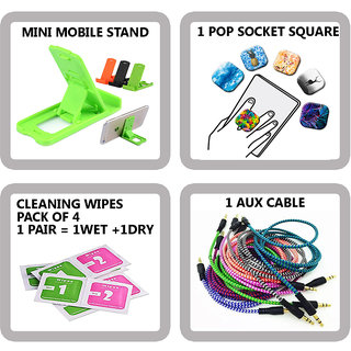 COMBO OF 4 IN 1 MOBILE ACCESSORIES (1 MINI MOBILE STAND+ 1 POP SOCKET SQUARE+ 4 PAIR CLEANING WIPES+ 1 AUX CABLE)