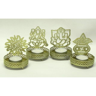 Shadow Tea Light Ganeshji/ Laxmiji/ Swastik/ Om Set of 4 Diwali Gift