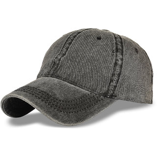 DRUNKEN Mens Vintage Plain Baseball Cap Blank grey hat Washed Denim Cap