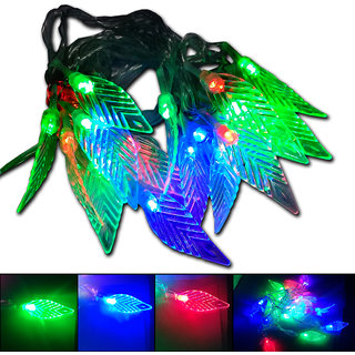 20LED Tree Leaf Shape Flashing Colors 4M Long Copper LED Rice Chain Decorative Light For Diwali/Wedding/Xmax/New Year 2W