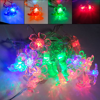 Flower Shape 20 LED Flashing Colors 4M Long Copper LED Rice Chain Decorative Light For Diwali/Wedding/Xmax/New Year 2W