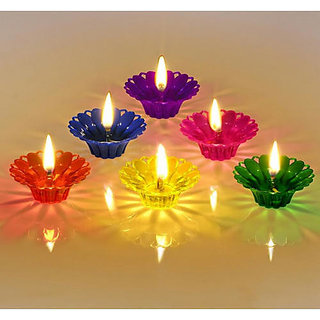 Sai Raam Floating Transparent Deepak Plastic Diwali Decorative Diyas 12 pcs ( Multicolor )
