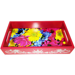 Shobhamit InnovativesMulticolor Flowers Serving Tray 003