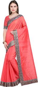 Florence Peach Bhagalpuri Silk Embellished Lace Work Saree With Blouse