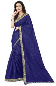 Florence Dark Blue Kalamkari Art Silk Plain Saree With Blouse
