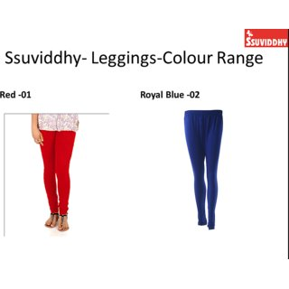 Ssuviddhy Combo Eco Leggings Red and Royal Blue