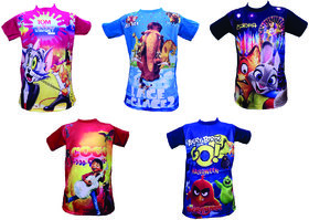 Om Shree Multicolor 3D T-shirt (Pack of 5)