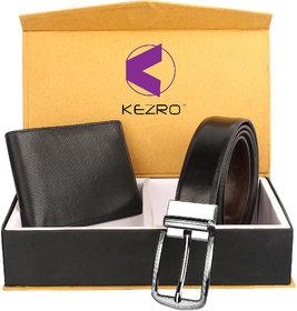KEZRO Mens Reversible Belt  Wallet Combo (Black-BLack)