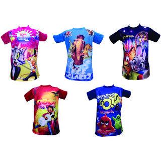 Om Shree Multicolor 3D T-shirt (Pack of 5)