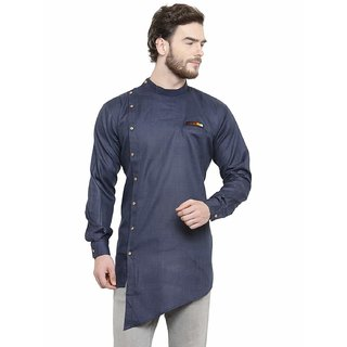 ABH LIFESTYLE Men's cotton trail cut kurta (navy blue)
