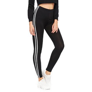 Code Yellow Women's Double Side Stripes Stretchable Black Casual Jeggings Gym Yoga Wear