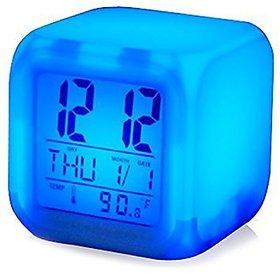 7 Color Changing Clock Cube Desk Night Table Alarm Clock Glowing Digital Alarm Clock LED Watch