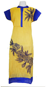 Ladies Cotton Kurti Yellow and Blue Embroidery Designing