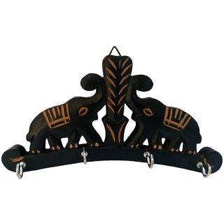 Desi Karigar Wooden Key Hanger Wall Hanging Decor Elephant Small