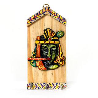 Kartik Indian Arts Ethnic Lord Krishna Wooden Designer Key Holder, Key Ring Holder