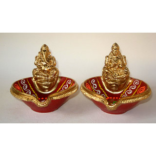 Diya with laxmi ganesha / Terracotta Decorative Dipawali / Diwali Diya / Tealight / Oil Lamps for Pooja