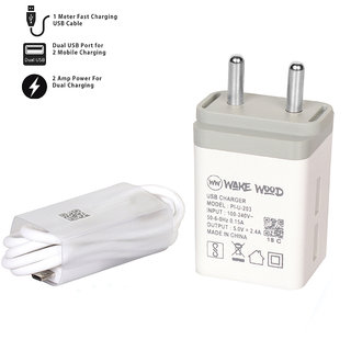 2 Amp Dual Socket Mobile Charger with 1 m Fast Charging Micro USB Data Cable