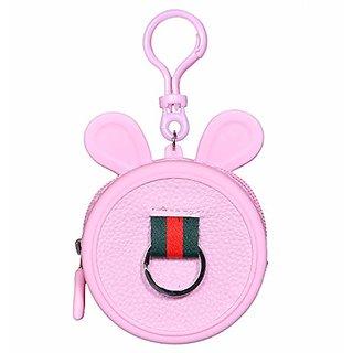 Cartoon Ear Round Shape Silicon Ear Plugs Holders coin purse Keychain Mini Coin Purse Key Ring Wallet Kids Handbag-PINK