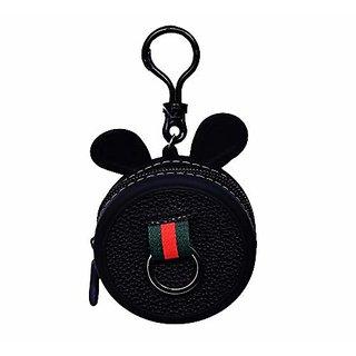 Cartoon Ear Round Shape Silicon Ear Plugs Holders coin purse Keychain Mini Coin Purse Key Ring Wallet Kids Handbag-BLACK