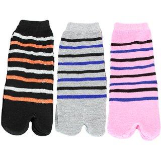 Neska Moda Women 3 Pair Cotton Multicolor Ankle Length Thumb Socks S1142