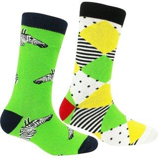 Neska Moda Women 2 Pair Cotton Green and Blue Crew Length Socks S1122
