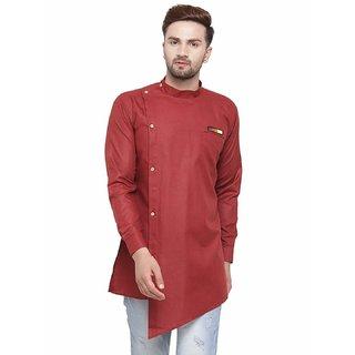 ABH LIFESTYLE Men's Cotton short kurta (Maroon)