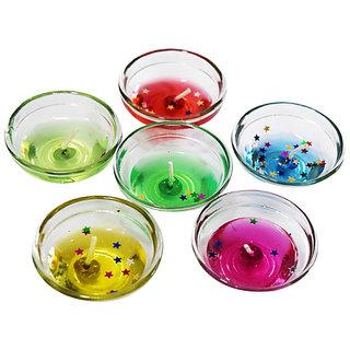 Kartik Set of 3 Large Glass Gel Candles for Diwali and Christmas Decor - Multi Color Candle (Multicolor, Pack of 3)