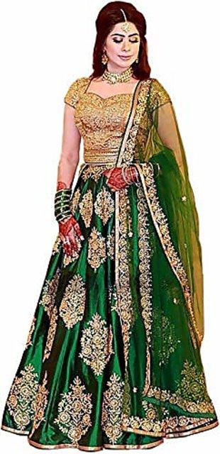 8a01cf2e6f F Plus Fashion Heavy Embroidered Taffeta Silk Women's Party Wear Lehenga  Choli(FPGreen Lehenga) ...