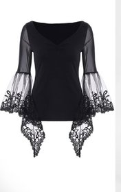 Shilpa Stylish V- Neck Lycra Split Sleeves Black Lace Top