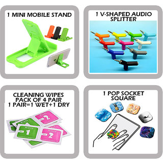 COMBO OF 4 IN 1 MOBILE ACCESSORIES(1 MINI MOBILE STAND+1 V-SHAPED AUDIO SPLITTER+ 4 CLEANING WIPES +1 POP SOCKET SQUARE)